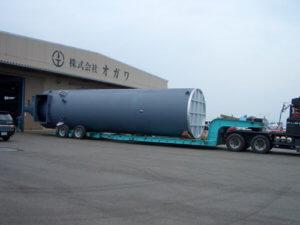 製缶部門(減温塔) 某清掃工場向、減温塔(特殊車両にて輸送)